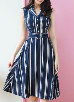Korean Women`s Fashion Shopping Mall, Styleonme. Stylish Dresses, Cute Dresses, Casual Dresses, Fashion Dresses, Middy Dress, Belted Dress, Vestidos Vintage, Collar Dress, Cotton Dresses