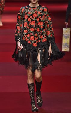 Rose Embroidered Fringe Poncho by Dolce & Gabbana for Preorder on Moda Operandi
