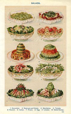 EARLY 1900s MRS BEETON Cooking Print, Antique Victorian Era Photo Print, baking, food, salads via Etsy