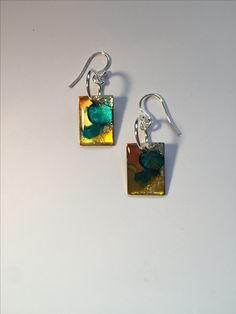 Hand-painted Mosaic Sterling Silver earrings now at Northwood Gallery, Midland MI