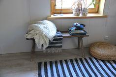 "Handmade Denim Woven Rug , Denim Striped Rug , Woven Loom Rug , Denim Rug , Floor Rugs , Sailor Nautical Sailors Marine Beach , 56""x27"" by SecondBirthday on Etsy"