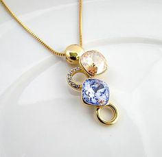 Gold Citrine And Lavender Gemstone Necklace - necklaces & pendants