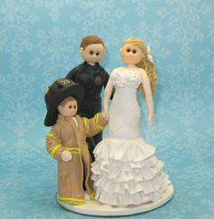 Wedding+cake+topper+firefighter+family+by+MandMClayCreations,+$95.00