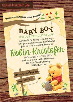 Our Sweet Little Hunny Winnie the Pooh Inspired Baby Shower Invitation by TheGreatInvitation on Etsy https://www.etsy.com/listing/239713147/our-sweet-little-hunny-winnie-the-pooh