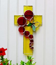3D Butterfly Cross Stained Glass Sun from JBsGlassHouse on