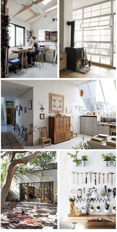 Studio - Workspace love!  Photo credits : Cabinet maker Laura Bergsøe | Norwegian artist studio Kalle Grude | Gisèle d'Ailly van Waterschoot van der Gracht | Backyard Design by Commune | Melbourne Home · Kim Victoria Wearne & Stuart Beer