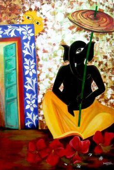 Buy online Paintings - Ganesha from Art N Heart Gallery Ganesha Painting, Lord Ganesha, Acrylic Canvas, Online Painting, Indian Art, Deities, Folk Art, Modern Art, Disney Characters