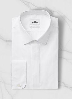 Chemise petit col français en popeline de coton égyptien : Achetez votre chemise homme blanche 15EH3RIFA-V001/01 et découvrez les costumes hommes De Fursac.