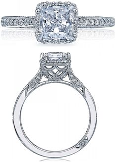 Tacori, diamond engagement ring, wedding, bride, bridal, princess, diamonds, crescent, pave, millegraining, engraving, round brilliant, ribbon, twist, split shank, halo, princess cut, basket