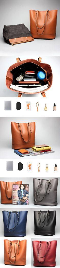 [$ 56.65]   Ekphero Women Genuine Leather Handbag High End Tote Bag Bucket Bag
