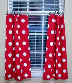 LINED Poka Dot Kitchen Cafe Curtains 2 Panels/ By WindowToppings
