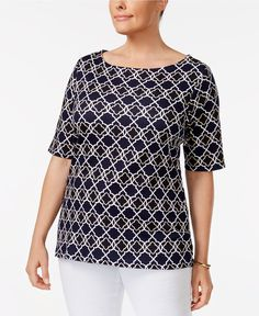 fcf2934c2d8 3X Iconic Print Charter Club Plus Size Cotton Boat-Neck T-Shirt Elbow sleeve