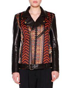 W0DYS Etro Leather Moto Jacket w/Brocade Panels, Red/Black/Gold