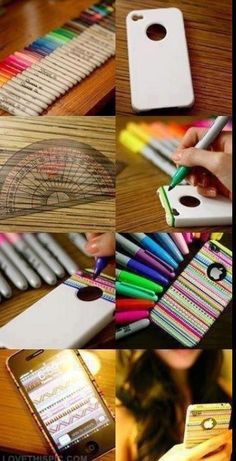Image uploaded by DIY. Find images and videos about iphone, diy and case on We Heart It - the app to get lost in what you love. Ipod Cases, Cool Phone Cases, Phone Covers, Diy Coque, Capas Iphone 6, Fun Crafts, Diy And Crafts, Do It Yourself Design, Ideias Diy