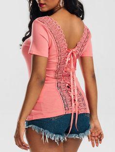 Scoop Neck Lace-up Laced Top in Orangepink 2xl | Sammydress.com