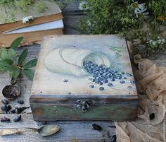 """Купить """"Черника"""" короб чайный - васильковый, черника, черничный, ягоды, ягода, деревенский стиль"""