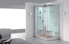 Nautical lighting and a steam shower | Design your own modern bathroom.