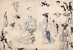 "Twentieth Century British Art by Evelyn Dunbar: ""Studies for Mercatora, an allegorical painting (whereabouts unknown) [HMO Chelsea School Of Art, Art School, Royal College Of Art, Mural Painting, Art Studies, Gouache, Modern Art, Study Design, Ink"