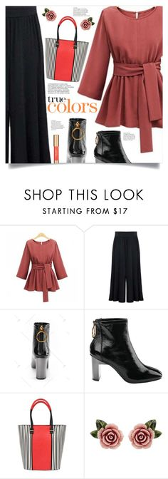 """Terracotta & Black"" by mahafromkailash ❤ liked on Polyvore featuring Pia Rossini, Dolce&Gabbana, Hedi Slimane and Estée Lauder"