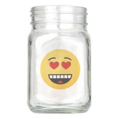 Smiling Face with Heart-Shaped Eyes Mason Jar - love gifts cyo personalize diy