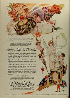 Willy Pogany — Djer-Kiss ad — 1922 Fairy Aids to Beauty Perfume Ad, Vintage Perfume, Vintage Ephemera, Vintage Ads, Vintage Graphic, Vintage Stuff, Vintage Prints, Vintage Fairies, Beautiful Fairies