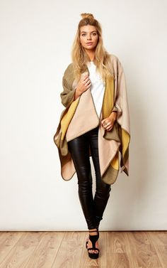 Chunky Patchwork Knitted Cape - SilkFred