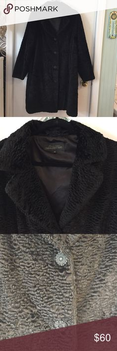 Donna Saylor Fabulous Furs Faux Persian Lamb Coat This is a lovely warm Faux Persian lamb coat by fabulous furs. It's size 2x. I wore this for at least 5 years and it always kept me toasty warm. Just decided I needed a change. I changed the original buttons to these black ones. I thought the original silver toned buttons looked cheap. Shipped with care from a smoke free home. Fabulous Furs Jackets & Coats