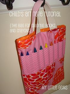 Child's Art Supply Totebag Tutorial {for coloring books & crayons}