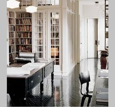 Bookshelves, desk