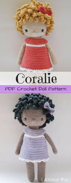 Crochet Doll Pattern. What a sweet little doll! Looks great as a little black doll or a little white doll! Gorgeous pattern! #etsy #ad #pdf #download #toy #stuffy #child #love