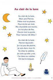Sur La Lune Parole : parole, Librairie-Interactive, Clair, Chanson, Bébé,, Chansons, Enfants,, Maternelle
