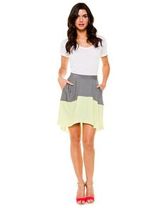 Some of you have to get in on this: BCBGeneration Bright Lime Hi-Low Colorblock Skirt