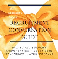 "The ultimate sorority recruitment Conversation ""How To"" Handbook! Digital download ready to read and boost your communication skills! ♥"