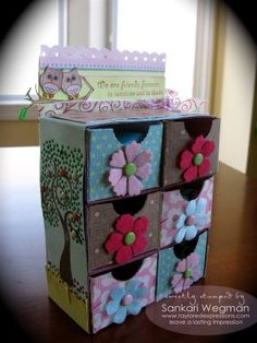 Stamp a Sweet Impression: Mini Bookcase with Drawers - Taylored Expressions 3d Paper Crafts, Diy Paper, Diy And Crafts, Decoupage Drawers, Bookcase With Drawers, Fabric Covered Boxes, Matchbox Art, Craft Bags, Altered Boxes