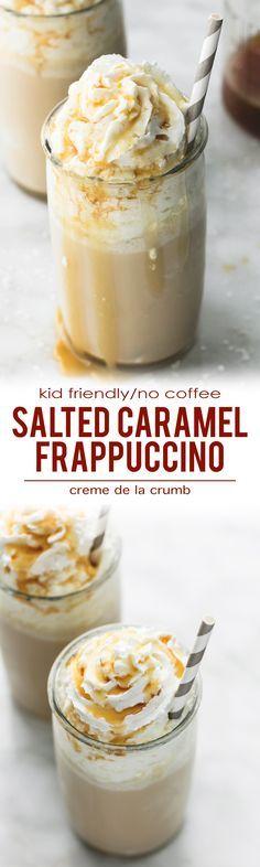 Quick and easy, creamy Salted Caramel Frappuccino (Kid Friendly/No Coffee) | lecremedelacrumb.com