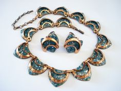 MATISSE EGYPTIAN REVIVAL SPECKLED BLUE GREEN ENAMEL COPPER NECKLACE & EARRINGS