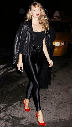 The 17 Best Celebrity Halloween Costumes of ALL Time via Kim-mermaid, Sandy-Grease Halloween Costumes 2014, Best Celebrity Halloween Costumes, Halloween Inspo, Cute Costumes, Halloween Cosplay, Halloween Outfits, Grease Costumes, All Black Halloween Costume, Halloween Heels