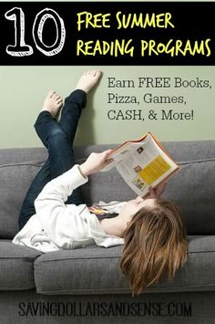 10 FREE Kids Summer Reading Programs that motivate summer reading through free rewards such as free books, pizza, games, CASH, and More!!!