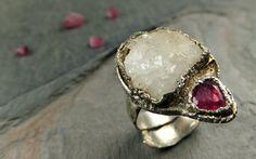 Pink Tourmaline Druzy Quartz Crystal Sterling Silver by byAngeline, $215.00