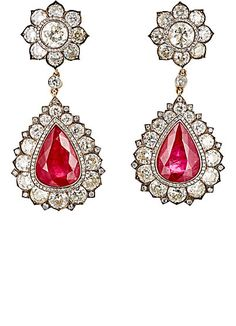 Munnu White Diamond & Ruby Drop Earrings -  - Barneys.com