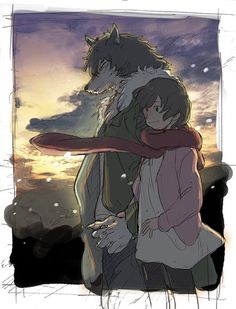 Hana and Ookami the Wolf Man holding hands as a romantic couple in the sunrise from Wolf Children Wolf Children Ame, Mamoru Hosoda, Couple Moments, Anime Furry, Anime Version, Anime Films, Funny As Hell, Furry Art, Studio Ghibli