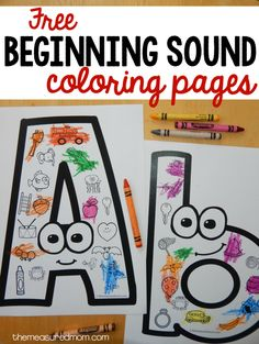 "These FREE beginning sounds coloring pages are a great beginning sounds activity for preschool or kindergarten. use for beginning sound and also colors: ""what color are you going to color the ____? Preschool Letters, Learning Letters, Preschool Kindergarten, Preschool Learning, Fun Learning, Toddler Preschool, Learning Spanish, Letters Kindergarten, Kindergarten Coloring Pages"