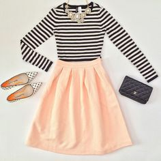 Fall-Winter/ Peach midi skirt, black and white stripped log sleeve, silver statement necklace, white shoes with black polka dots, black clutch