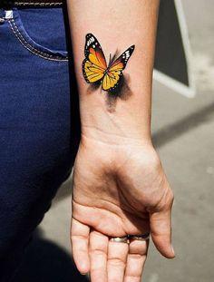 Semicolon Butterfly Tattoo, Butterfly Leg Tattoos, Realistic Butterfly Tattoo, Monarch Butterfly Tattoo, Red Bird Tattoos, Butterfly Tattoo Designs, Tattoo Designs For Women, Mini Tattoos, Tattoos For Women