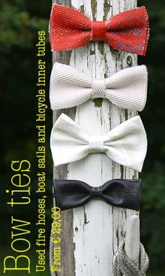 Bow ties - used bicycle inner tubes boat sails fire hoses - upcycled gifts accessoires