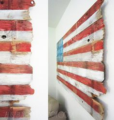 Old wood turned into patriotic inspired wall art - DIY by Alisa Burke