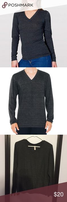 Unisex tri blend vneck long sleeve tee from AA American apparel tri blend (black/Grey) unisex long sleeve tee. Super cute and cozy. I got it in another color so don't reach for this as much anymore. Size small American Apparel Tops Tees - Long Sleeve