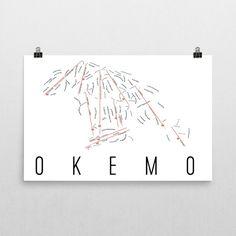 Okemo Mountain Ski Map Art, Okemo VT, Okemo Mountain Trail Map, Okemo Mountain Ski Resort Print, Okemo Poster, Art, Gift