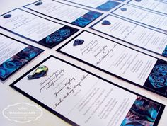 Paua Shell Wedding Invitations - nice layout for table plan though!