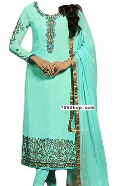Turquoise Georgette Suit | Buy Pakistani Fashion Dresses and Clothing Online in USA, UK